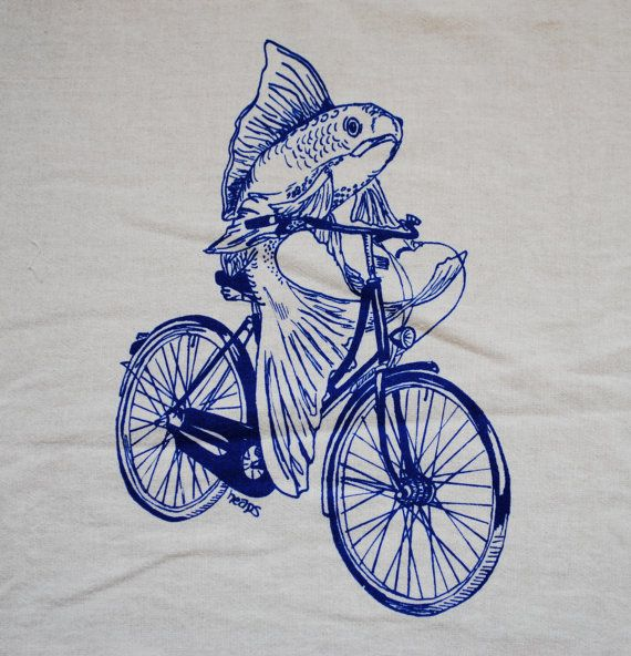 Silk screened Fish on a Bicycle image printed by hand on an organic cotton tea towel. This is available in my Etsy shop for $10.00USD.