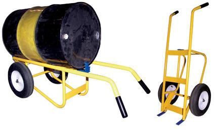 """Multi-Purpose Drum & Hand Truck. Multi-purpose unit serves as a drum truck, drum cradle, and a hand truck. Extra-long handles give leverage for access to drums on pallets. Unit lies horizontally for use as a drum cradle to empty drum contents. Steel nose plate and drum tines are interchangeable. Features large 16"""" x 4"""" diameter wheels for use over rough terrain. Includes built-in bung nut wrench."""