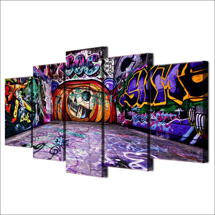 Purple Graffiti Painted in Wall - 5 Piece Canvas