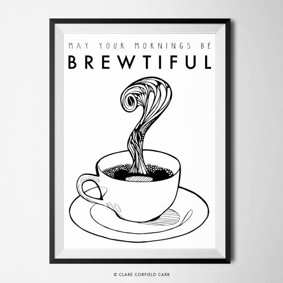 Coffee Poster. Coffee Pun. Home Art Decor by Clare Corfield carr