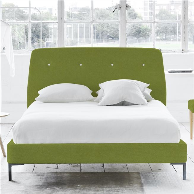 Cosmo Bed - White Buttons - King - Metal Leg - Cassia Apple