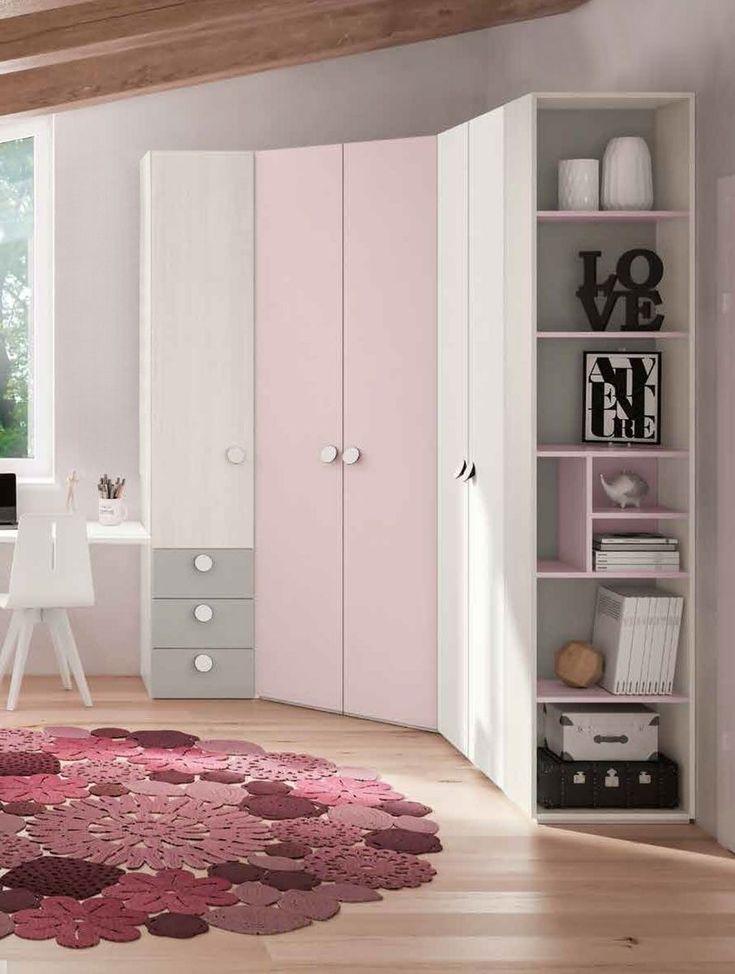 Dolcissimo armadio ad angolo, colore rosa confetto con ...