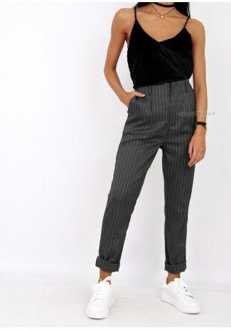 pantalon cigarette à rayures verticales - je préfère le bleu marine mais le gris n'est pas laid