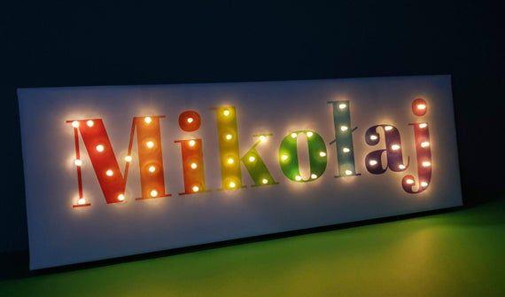 Lighted Name Sign Rainbow Lettering Nursery Boy Etsy Light Up Letters Rainbow Wall Art Night Light Kids