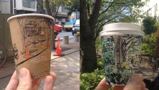 Kunst op koffiebekers is dankzij Starbucks niets nieuws meer, maar de Australische illustrator Adrian Hogan geeft zo mogelijk een volledig nieuwe ...