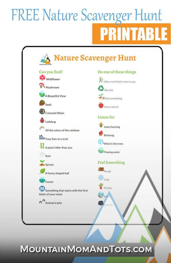 Free Nature Scavenger Hunt Printable March Into Nature Challenge Mountain Mom And Tots Nature Scavenger Hunts Nature Scavenger Hunt Printable Scavenger Hunt For Kids