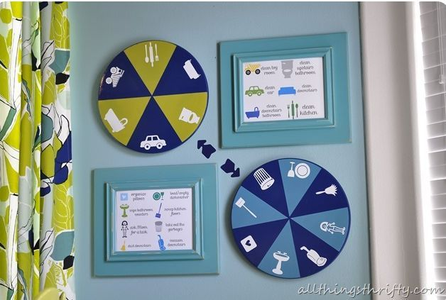 10 Brilliant Ideas To Motivate Your Children To Do Chores:   #5 – Spinning Chore Chart  (This spinning chore chart adds a gamification aspect to everyday chores.  Children love to play games, so this is a wonderful way to get them to keep coming back for more chores!)