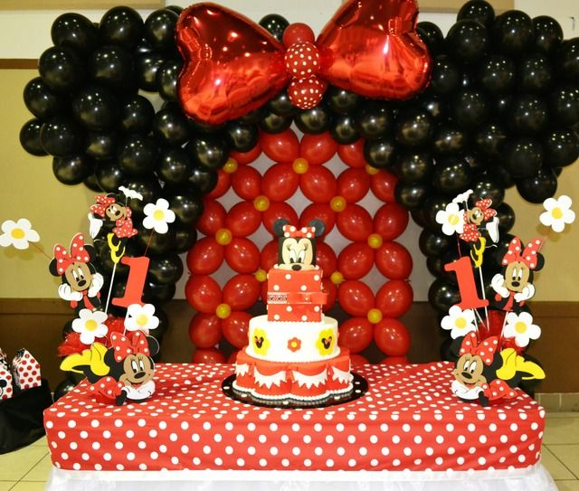 Amazing backdrop and dessert table at a Minnie Mouse girl birthday party!  See more party ideas at CatchMyParty.com!