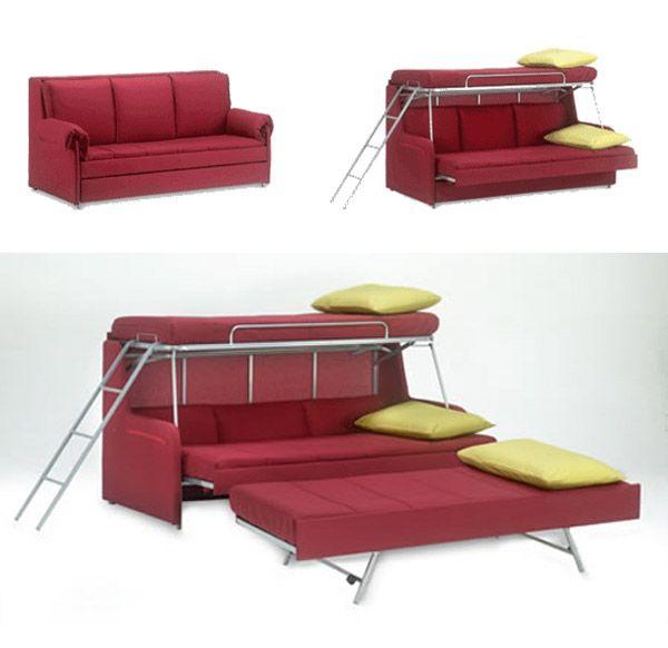 sofá rojo transformadora en literas de tres pisos                                                                                                                                                     Más                                                                                                                                                                                 Más
