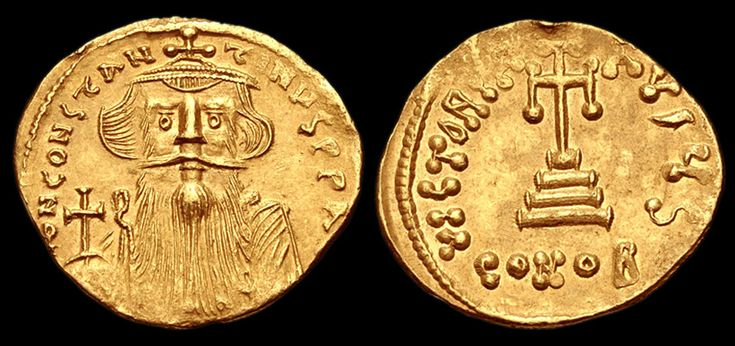 Solidus of Constans Il Reigned; 641 to 668 A.D. Measurement; diam. 20.00 mm., wgt. 4.31g.   Constantinople mint; struck 651/2 to 654 A.D. Obverse; Facing; bust of Constans Il crowned and draped holding globus cruciger  Reverse; Cross potent set on three steps   Condition; Very fine Published; D. Sear, et al. Byzantine Coins and Their Values. 2nd Edition, London, 1987, No. 956 Reference; EV1640 COPYRIGHT © Royal Athena