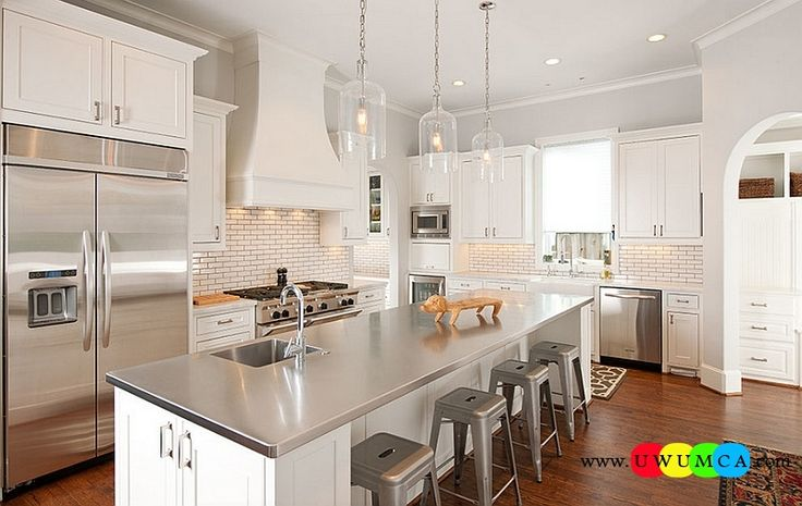 Kitchen:How To Clean Stainless Steel Kitchen Appliances Sinks Utensils Best Countertops Island Carts Table Chairs Dining Room Worktops Elegant Kitchen In White With A Modern Stainless Steel Island How to Clean Stainless Steel for a Sparkling Kitchen Appliances and Sinks then Utensils