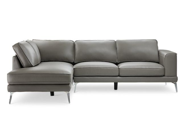 Naples Gray Leather Left Chaise Sectional With Metal Legs