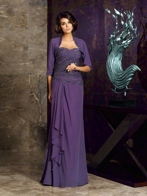 Abendkleid Lang Brautmutterkleider Lila Chiffon Strass