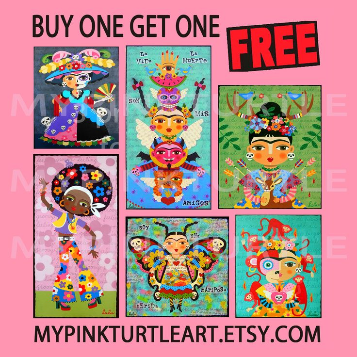FREE print SALE in my ETSY shop ! Buy ONE and get another one FREE ! From Friday until Tuesday - April 14-15-16-17 ! COUPON code BUY1GET1FREE www.lulumypinkturtleart.etsy.com Frida Kahlo, day of the dead, angels, fairies, cats, dogs, big eyes and more !