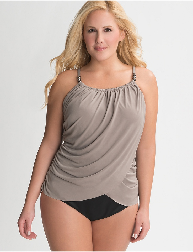 Plus Size Beaded Maillot by Miraclesuit | Lane Bryant.  I love this,  but I'm not going to pay $160 for a swimsuit.  It would make a pretty top, though. Need to make one in jersey.