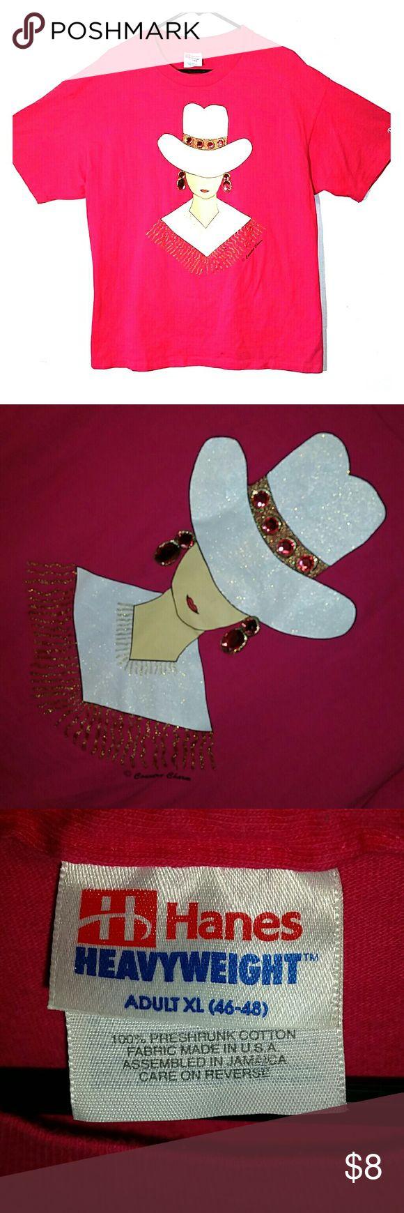Hot pink lady w rhinestones t shirt sz xl Hot pink lady with rhinestones T-shirt size XL Hanes Tops