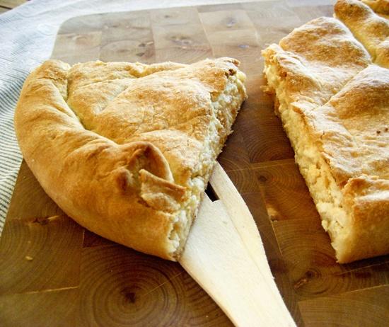 Kalasouna ( cheese pie with onions), Folegandros, Greece