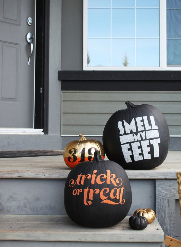Type design on pumpkins.