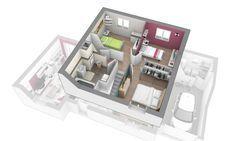 Ce modèle est idéal pour la vie de famille : au rez-de-chaussée, la partie jour est spacieuse avec un large séjour, une cuisine ouverte avec cellier donnant sur le garage ainsi qu'un bureau. A l'étage, l'espace nuit est composé de 3 chambres et d'une salle de bains. Notre modèle Matin Clair est une maison à étage, 3 volumes, à partir de 100 m² habitables - 3 chambres et un garage. Ce modèle est intégralement personnalisable en surface, aménagements intérieurs et systèmes de chauffage. DO et…