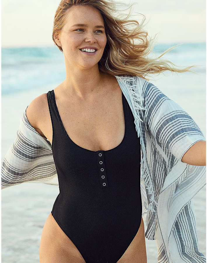 a4b1b450283 aerie Henley One Piece Swimsuit | Bathing Suits | Swimwear ...