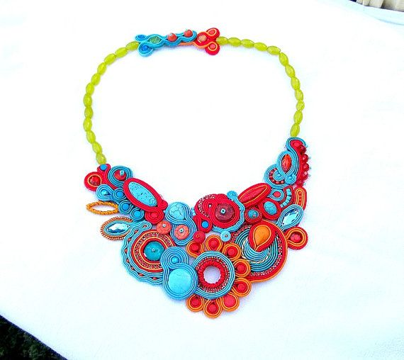 High Fashion Statement Necklace Soutache Necklace by IncrediblesTN, $229.00