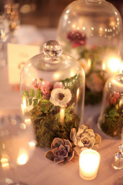 Terrariums as centerpieces. Love this idea..reminds me of a scene out of Mid Summer's Night Dream