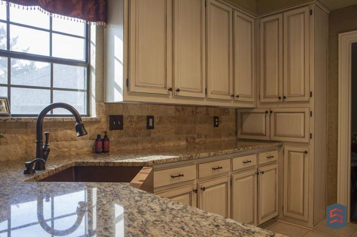 Granite Countertop White Cream Cabinets What Sardone