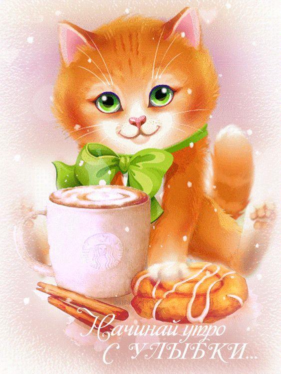 Открытки, открытки коты доброе утро