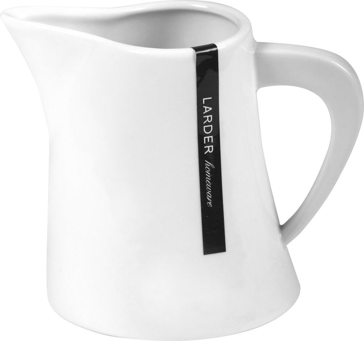 "Hepburn Milk Jug -   Enjoy afternoon tea with milk served from our Hepburn porcelain milk jug. Its spout is crafted for ""drip free"" pouring. You can also use it as a small gravy pot for Sunday roasts. It comes in bright white and is made from high quality porcelain, which is durable, lightweight, microwave, dishwasher, and oven safe.  larder.com.au"