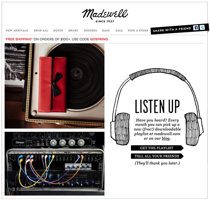 Madewell email newsletter
