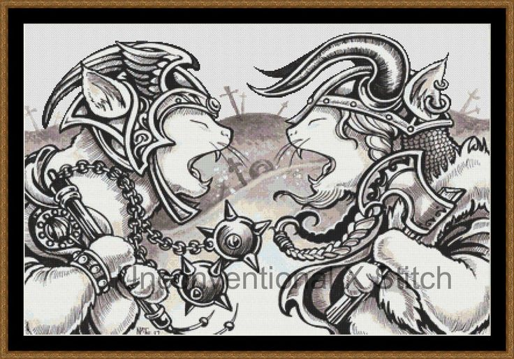 Ferret cross stitch pattern - modern counted cross stitch - divided - Licensed Natalie Ewert - viking warrior by UnconventionalX on Etsy