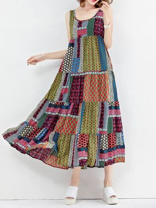 A-line Sleeveless Patchwork Casual Print Dress