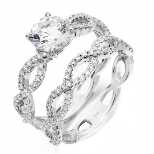 "Simon G ""Twist"" Diamond Engagement Ring $1716 - this is pretty, i'd want a different band though. Too much going on with the two identical bands bridgettefultz"
