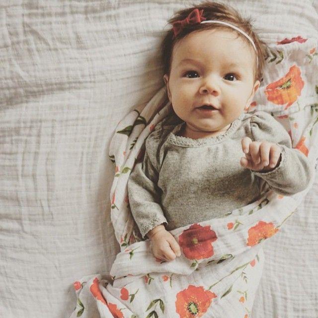 Summer poppy swaddle littleunicorn swaddle blanketbaby