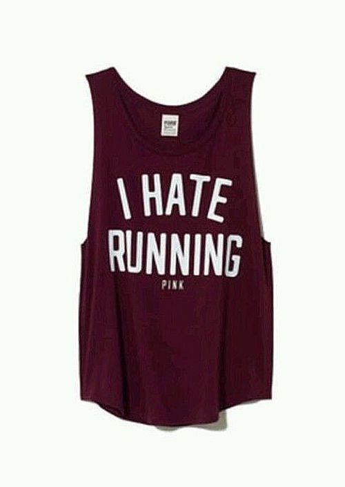 "Victorias Secret Pink ""I Hate Running"" tank top"