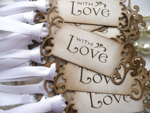 With Love White Wedding Favor Tags  Set of 75 Vintage by amaretto, $105.00