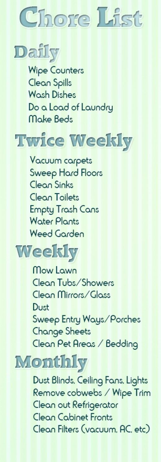 weekly house chore list