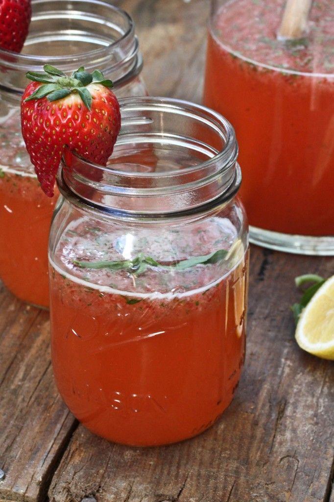 Strawberry Basil Lemonaide- vodka optional: Recipe, Beverage, Summer Drinks, Strawberries Lemonade, Food, Gabi Cooking, Lemonade Strawberries, Strawberries Basil Lemonade, Masons Jars