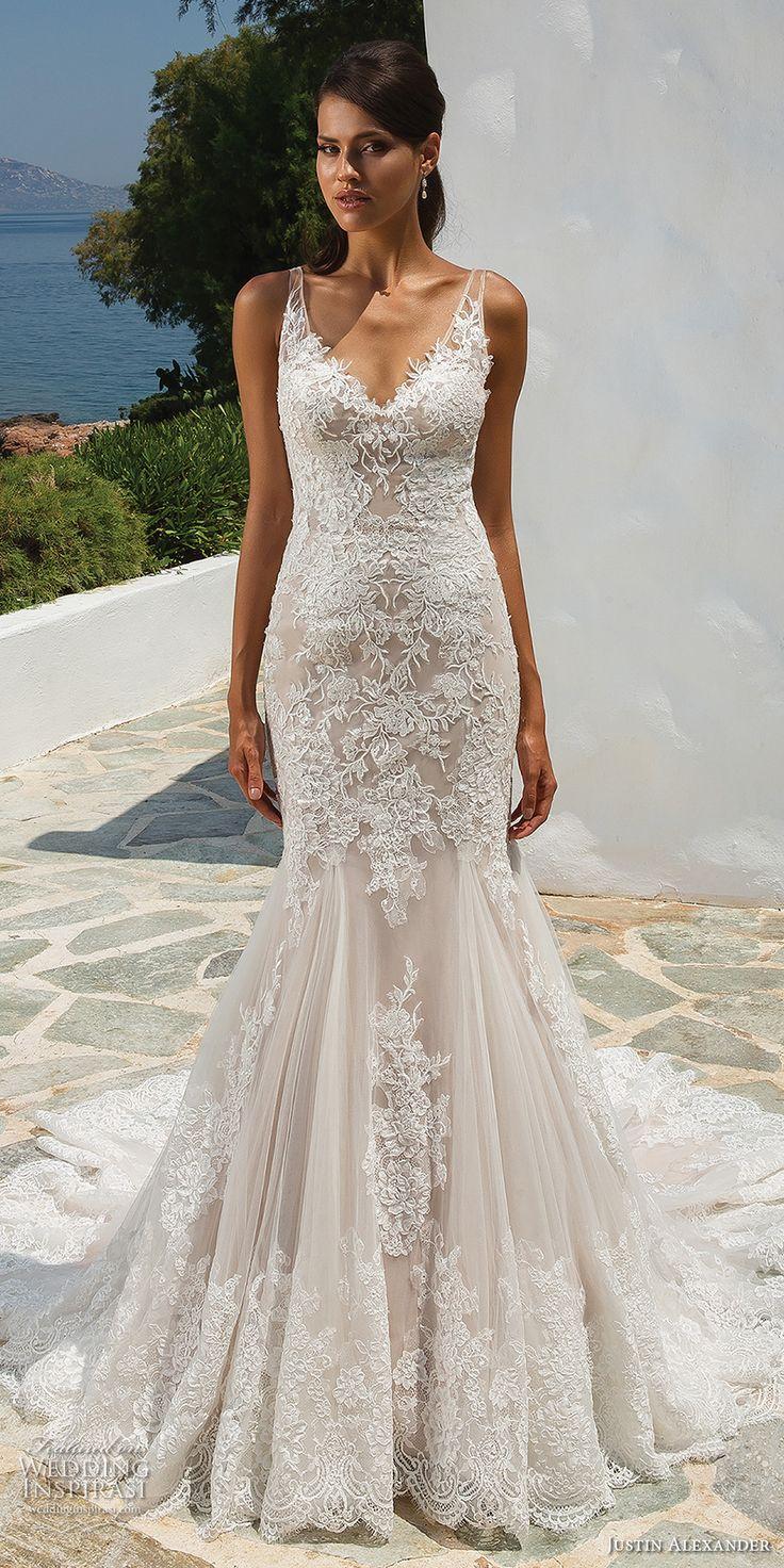 justin alexander 2018 bridal sleeveless v neck full embellishment elegant trumpe…