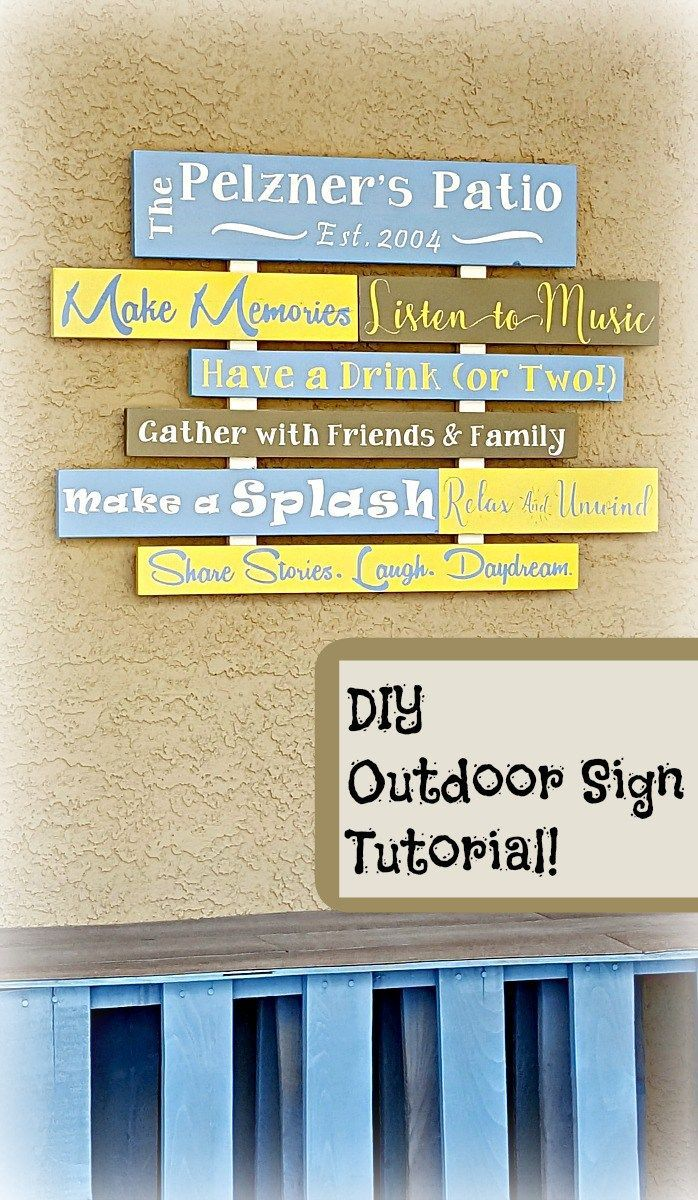 DIY Patio Sign Tutorial!!  Step by step picture instructions to make a personalized porch/patio sign!