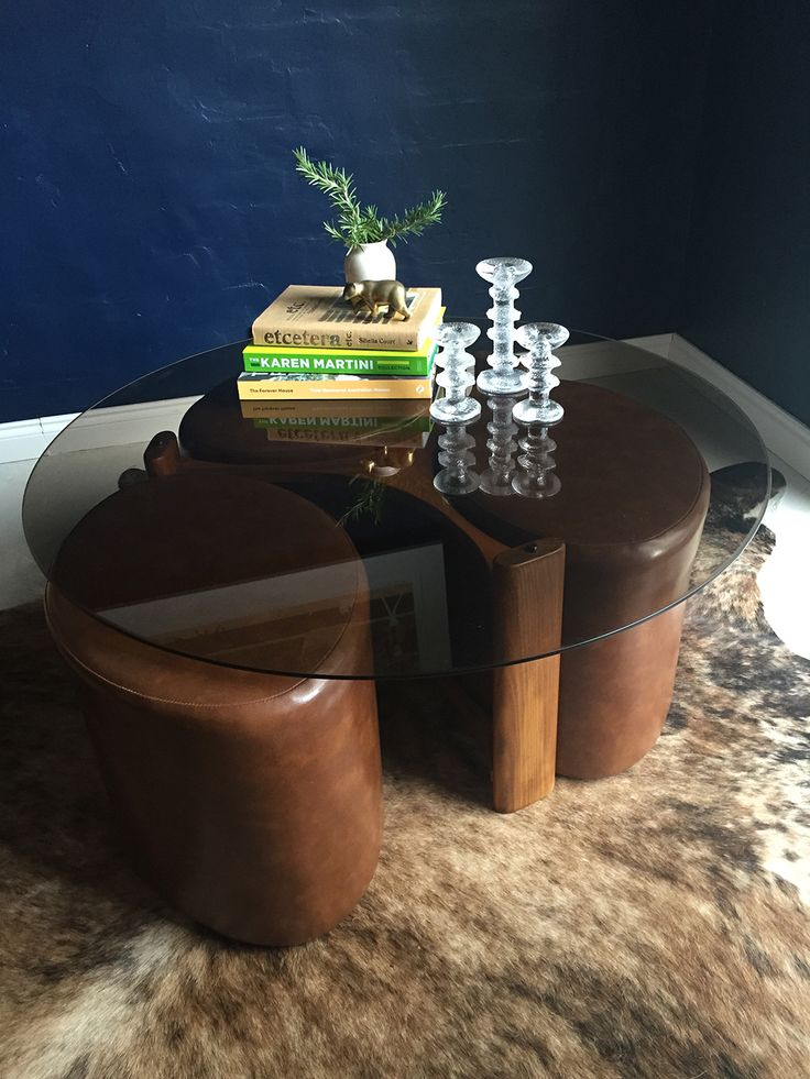 TH Brown mid-century Fondue set table and stools