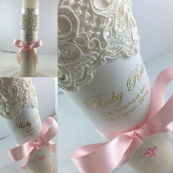 Custom made christening candle with gold foiling.