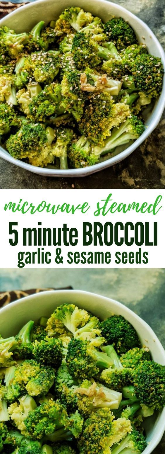 Easy 5-minute recipe for Microwave steamed broccoli with garlic and sesame seeds and ideas for 5 quick dinners that you can make using this recipe.  Vegan, gluten free, diabetic friendly and a healthy side dish that is ready in minutes. #microwave #broccoli #sides #vegan #glutenfree