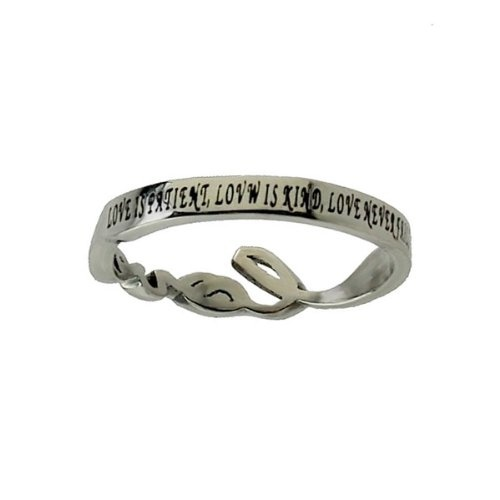 """Christian Womens Stainless Steel Abstinence Cursive Cutout """"Love"""" 1 Corinthians 13:4, 8 Chastity Ring for Girls - Girls Purity Ring: Jewelry: Amazon.com"""