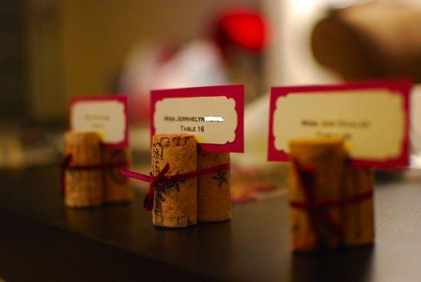 Wine bottle cork table markers.