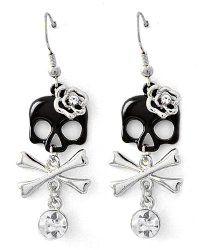 Silvertone Girly Skull & Cross Bones Dangle Earrings