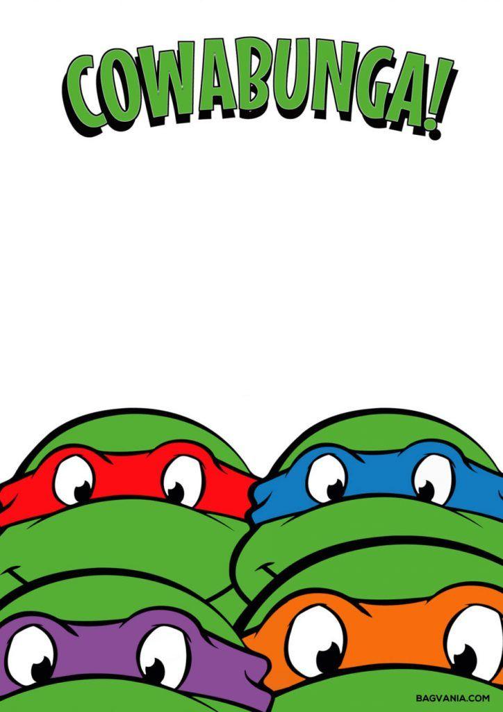 Free Printable Ninja Turtle Birthday Party Invitations Bagvania