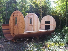 How to build a barrel sauna. Hmm.. Let's do it! Or order one from Leisure Living!