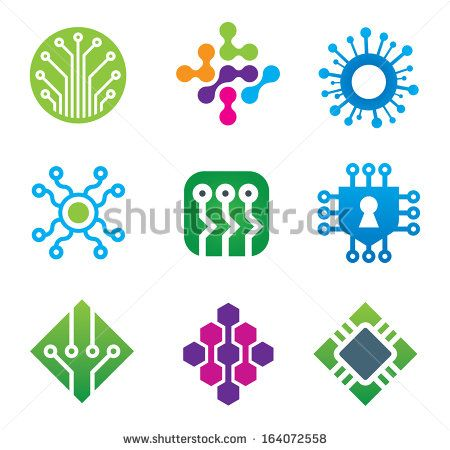 Computer science technology IT developer communications logo for cutting edge new age world future company business and brand corporation icon set - stock vector