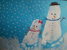 Dibujar muñecos de nieve con los pies. Ideas originales tapas álbumes escolares